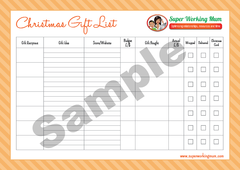 Christmas Gift List Printable File – Sample Christmas List